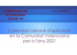 Calendari Laboral d'aplicació en la Comunitat Valenciana per a l'any 2021