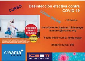 CURSO ON LINE DESINFECCIÓN EFECTIVA CONTRA EL COVID19 ORGANIZADO POR CREAMA BENISSA