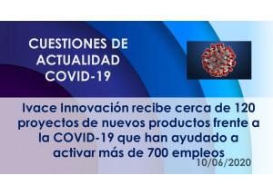 Ivace Innovación recibe cerca de 120 proyectos de nuevos productos frente a la COVID-19 que han ayudado a activar más de 700 empleos