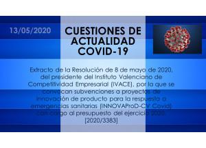 Extracto de la Resolución de 8 de mayo de 2020, del presidente del Instituto Valenciano de Competitividad Empresarial (IVACE), por la que se convocan subvenciones a proyectos de innovación de producto para