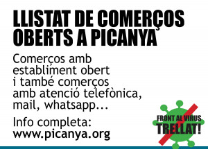 LISTADO DE COMERCIOS ABIERTOS EN PICANYA - AVISO COVID-19