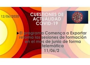 El programa Comença a Exportar retoma las sesiones de formación en el mes de junio de forma telemática
