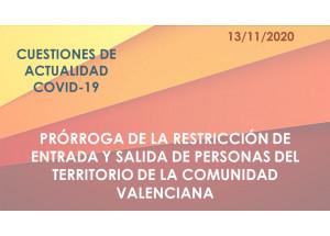 PRÒRROGA DE LA RESTRICCIÓ D'ENTRADA I EIXIDA DE PERSONES DEL TERRITORI DE LA COMUNITAT VALENCIANA