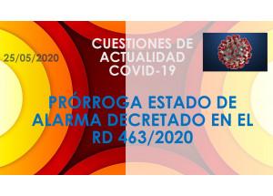 PRORROGA DE L'ESTAT D'ALARMA DECRETAT EN L'RD 463/2020