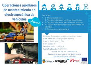 CREAMA-BENISSA recibe más de 36.000 € del SERVEF para organizar el curso de Operaciones Auxiliares de mantenimiento en Electromecánica de vehículos