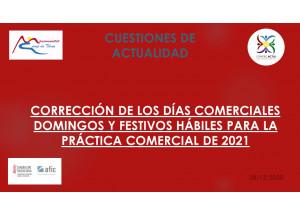 CORRECCIÓ DELS DIES COMERCIALS DIUMENGES I FESTIUS HÀBILS PER LA PRÀCTICA COMERCIAL DE 2021