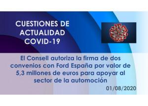 El Consell autoriza la firma de dos convenios con Ford España por valor de 5,3 millones de euros para apoyar al sector de la automoción