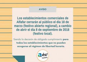 AVIS CANVIS FESTIUS APERTURABLES ALFAFAR 2018
