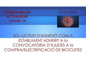 SOLICITUD DE ADHESIÓN COMO ESTABLECIMIENTO ADHERIDO A LA CONVOCATORIA DE AYUDAS A LA COMPRA/ELECTRIFICACIÓN DE BICICLETAS