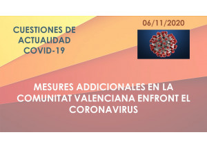 MESURES ADDICIONALES EN LA COMUNITAT VALENCIANA ENFRONT EL CORONAVIRUS