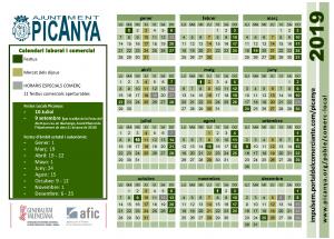 Calendario comercial 2019 - Picanya