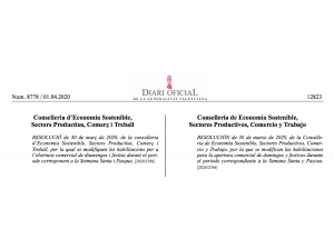 MODIFICACIÓ DE DIUMENGES I FESTIUS HÀBILS PER A LA PRÀCTICA COMERCIAL, (D'AQUELLS ESTABLIMENTS QUE TINGUEN PERMESA L'OBERTURA EN L'ESTAT D'ALARMA (COVID19).