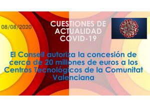 El Consell autoriza la concesión de cerca de 20 millones de euros a los Centros Tecnológicos de la Comunitat Valenciana