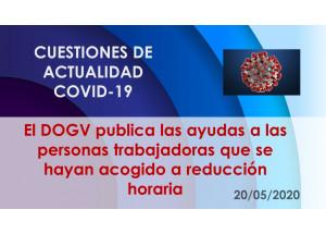 El DOGV publica las ayudas a las personas trabajadoras que se hayan acogido a reducción horaria