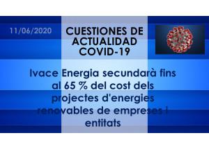 Ivace Energia secundarà fins al 65 % del cost dels projectes d'energies renovables de empreses i entitats