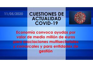 Economía convoca ayudas por valor de medio millón de euros para asociaciones multisectoriales y comarcales y para entidades de gestión