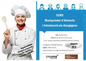 Próximo curso manipulador/a de alimentos en CREAMA Benissa