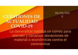 La Generalitat habilita un correo para atender y canalizar donaciones de material o económicas contra el coronavirus