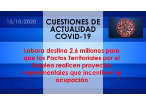 Labora destina 2,6 millones para que los Pactos Territoriales por el Empleo realicen proyectos experimentales que incentiven la ocupación
