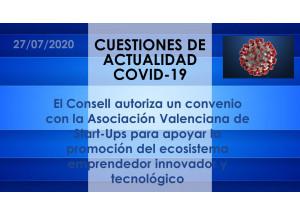 El Consell autoriza un convenio con la Asociación Valenciana de Start-Ups para apoyar la promoción del ecosistema emprendedor innovador y tecnológico