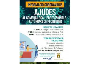 CREAMA informa de las AYUDAS AL COMERCIO LOCAL, PROFESIONALES Y AUTÓNOMOS DE PEDREGUER