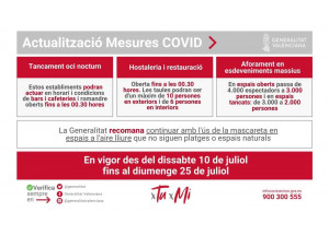NOVES MESURES COVID 19. PER AL PERÍODE ENTRE EL 10 DE JULIOL DE 2021 I EL 25 DE JULIOL DE 2021