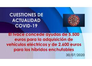 El Ivace concede ayudas de 5.500 euros para la adquisición de vehículos eléctricos y de 2.600 euros para los híbridos enchufables