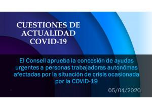 El Consell aprueba la concesión de ayudas urgentes a personas trabajadoras autonómas afectadas por la situación de crisis ocasionada por la COVID-19