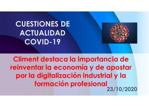 Climent destaca la importancia de reinventar la economía y de apostar por la digitalización industrial y la formación profesional