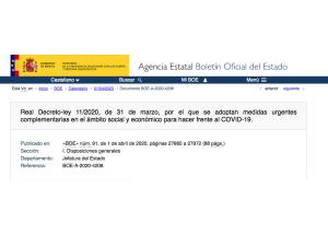 Real Decreto-ley 11/2020, de 31 de marzo, por el que se adoptan medidas urgentes complementarias en el ámbito social y económico para hacer frente al COVID-19.